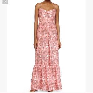 Betsey Johnson Coral Printed Linen Maxi Dress